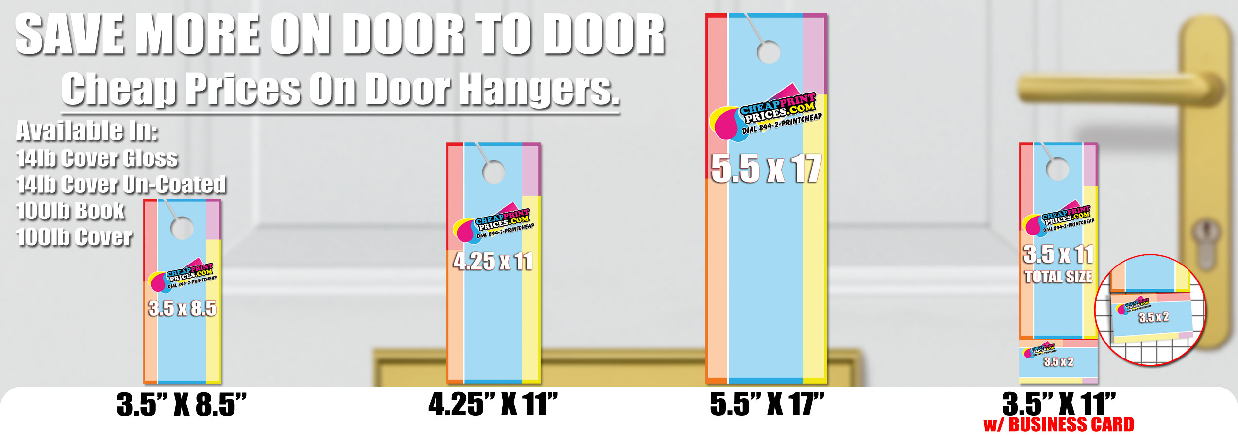 cheap door hanger printing sizes